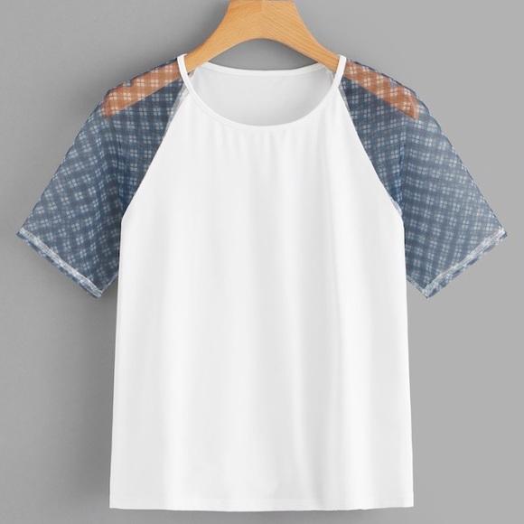 61719a1e7 SHEIN Tops | Plus Size Contrast Mesh Raglan Sleeve Tee Size 2xl ...
